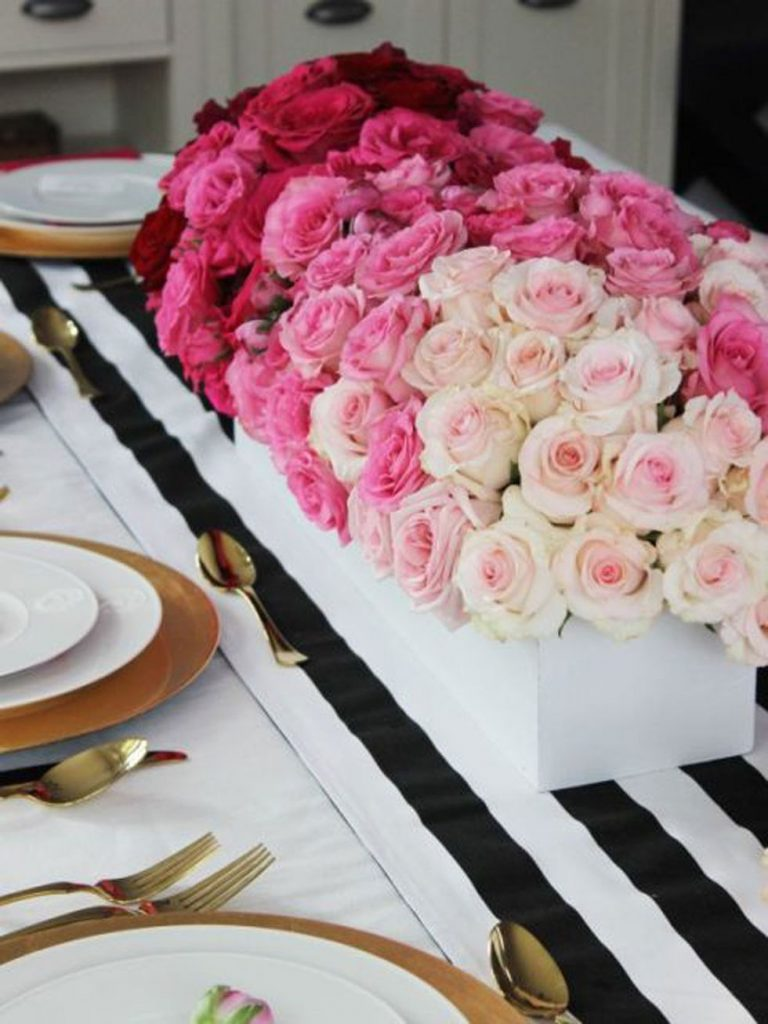centro de mesa con rosas ombre 768x1024 - Decora la casa per Sant Valentí